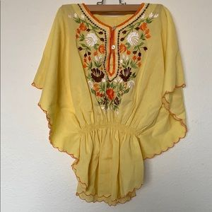 Tops - Vintage Yellow embroidered float boho top